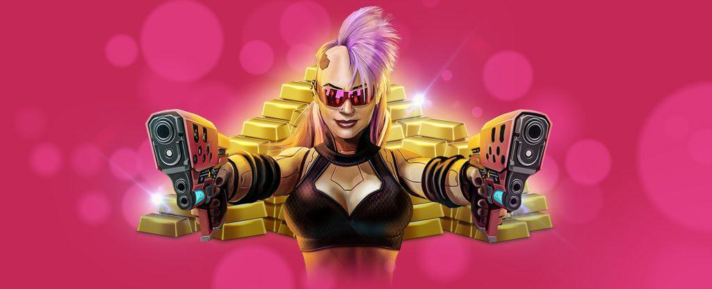 random progressive jackpot in cyberpunk city slot game